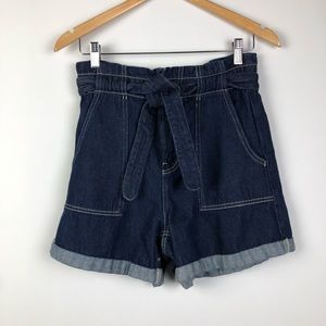 Zara Paper Bag Waist Cuffed Denim Shorts